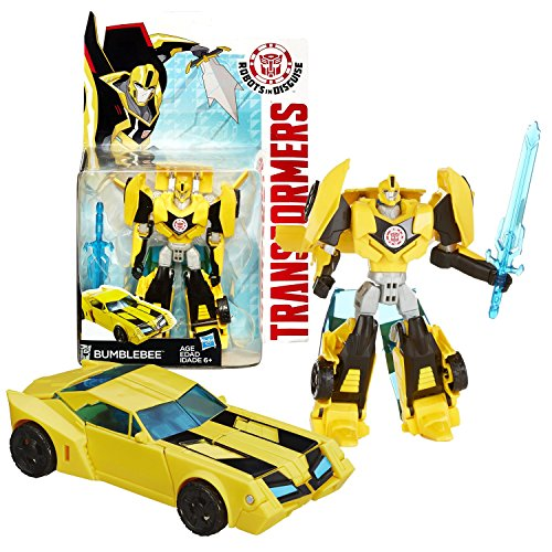 Hasbro Year 2014 Transformers Robots in Disguise Animation Series Deluxe Class 5 Inch Tall Robot Action Figure - Autobot BUMBLEBEE with Blue Sword (Vehicle Mode: Sports Car) (2014 Robot compare prices)