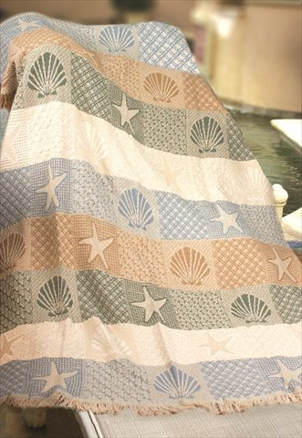 Seashells By The Seashore Two Layer Woven Throw Blanket Usa Made