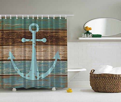 Cortinas De Baño Lavables:Nautical Anchor Shower Curtain