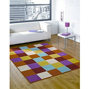 Multi Coloured Red Orange Pink Green Blue Contemporary Design - Stunning Childrens Modern Kids Floor Rug - AVAILABLE IN 3 SIZES, 120 x 160cm (4ft x 5ft 6) from Modern Style Rugs