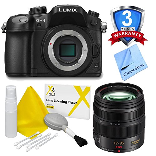 Panasonic Lumix Dmc-Gh4 4K Mirrorless Micro Four Thirds Digital Camera (Body Only), With Panasonic Lumix G X Vario 12-35Mm F/2.8 Asph. Lens For Micro 4/3 (Black), Lens Cleaning Kit And Cs Microfiber Cloth. Includes 3 Years Accidental Damage Warranty Cover
