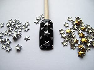 Nail Art 250 Pieces Gold & Silver 5mm Star Metal Studs for Nails, Cellphones