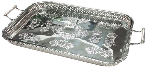 Two's Company Rothschild Decorative Gallery Tray, Silver Plated Brass (Brass Gallery Tray compare prices)