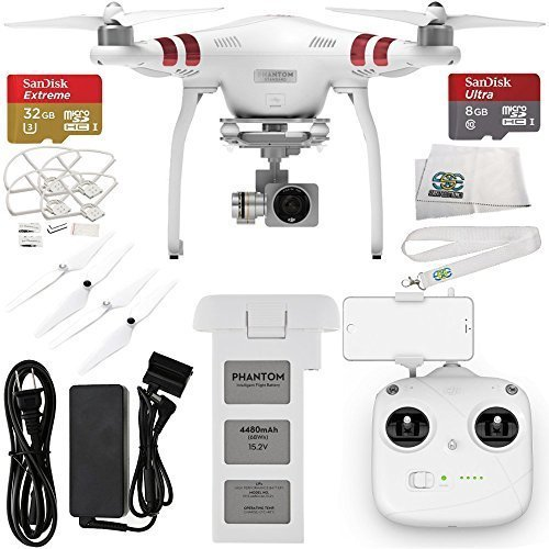 DJI-Phantom-3-Standard-w-27K-Camera-and-3-Axis-Gimbal-w-Manufacturer-Accessories-SanDisk-Extreme-32GB-Micro-SDHC-Memory-Card-SDSDQXN-032G-G46A-SanDisk-Ultra-8GB-Micro-SDHC-Memory-Card-MORE