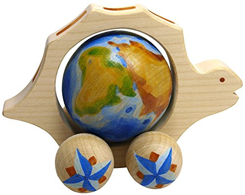Small Wooden Pull Along Toy - Turtle with a Globe inside the Belly - Handcrafted and Handpainted Waldorf Toy (Fisher Price Zebra Riding Toy compare prices)