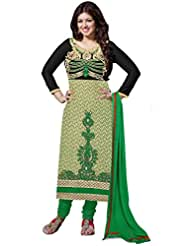 Manvaa Exclusive Green And Brown And Black Georgette Salwar Kameez With Green Chiffon Dupatta
