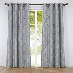 Puredown 2-Pack Embroidered Rhombic Pattern Window Curtains 54X84 Inch, Grey