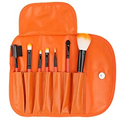 Imported 7pcs Soft Cosmetic Makeup Blush Eyeshadow Brush Set + Pouch Bag Case Orange