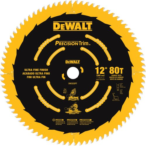 DEWALT DW3232PT Precision Trim 12-Inch 80 Tooth ATB Crosscutting Saw Blade with 1-Inch Arbor and Tough Coat Finish (80 Tooth 12 Inch Miter Saw Blade compare prices)