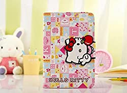 Hello Kitty Themed PU Leather Flip Folded Wallet Case Cover Stand Function with Card Slots for iPad mini1/2/3