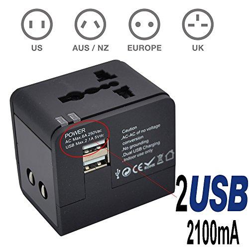 TBS®2301 Adattatore universale da viaggio e caricabatterie USB - Adattatore spine Africane / europee / americane / australiane / per oltre 150 paesi nel mondo