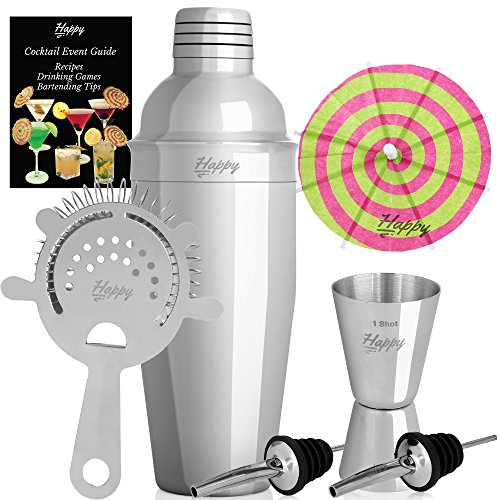 Cocktail Shaker Set Stainless Steel 304 Premium Martini Bundle 24oz Cobbler w/ Jigger w/ Strainer w/ 2 Pourers Bonus 10 Cocktails Umbrellas & Event EBook Guide a Professional Bar Tools Kit by Happy-li