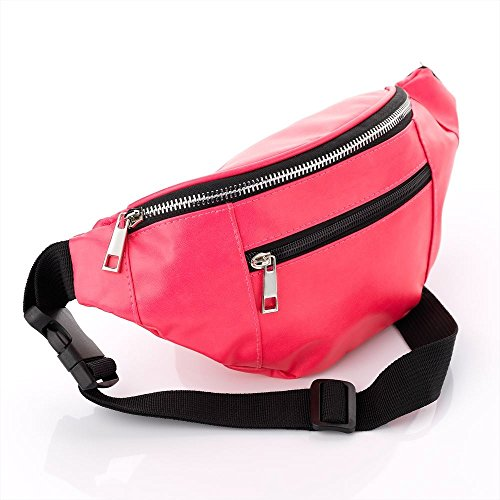 Neon Pink Leather Look Coloured Hip Belt Bum Bag. Ideal for Festivals