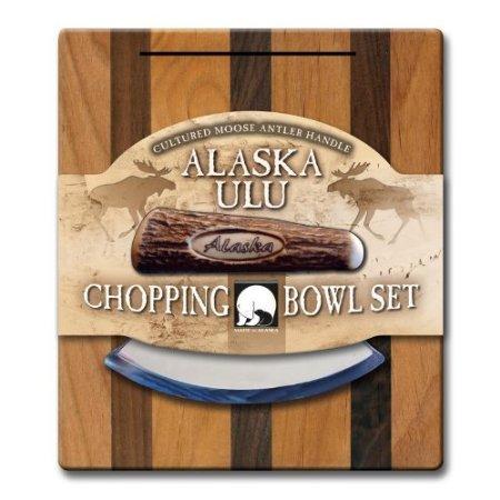 Alaskan Ulu Bowl And Knife With Cultured Moose Antler Handle