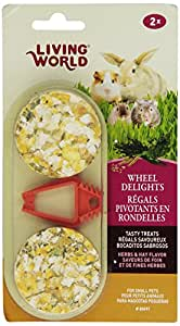 Living World 2-Pack Small Animal Wheel Pet Treat Delights, 2.4-Ounce, Herbs/Hay