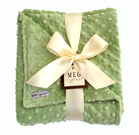 MEG Original Green Minky Dot Baby Blanket