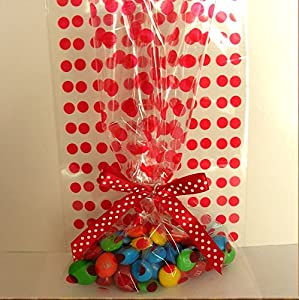 "25pcs 5""x8"" Polka Dot Red Gift Cello Bag + Pre-tied Ribbon Bow"