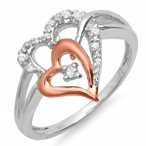 0.10 Carat (ctw) Sterling Silver and Pink Gold Plated Round Diamond Double Heart Two Tone Ladies Bridal Promise Engagement Ring 1/10 CT