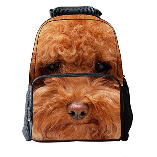 FanTec in tessuto-Zaino per cani con stampa 3D stile Casual per computer portatile, serie Daypacks (16 40,64 cm DogF