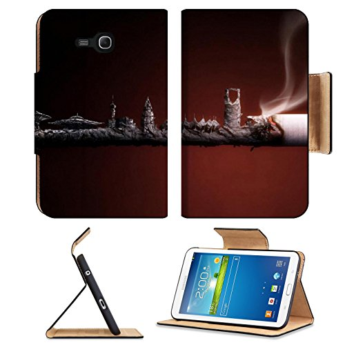 Abstract Cigarette Ashes Artwork Smoke Samsung Galaxy Tab 3 7.0 Lite Flip Case Stand Magnetic Cover Open Ports Customized Made To Order Support Ready Premium Deluxe Pu Leather 7 12/16 Inch (190Mm) X 5 5/8 Inch (117Mm) X 11/16 Inch (17Mm) Msd Galaxy Tab3 C