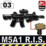 M5A1 R.I.S. Assault Rifle 3 Pack in Black - Custom Minifigure Piece