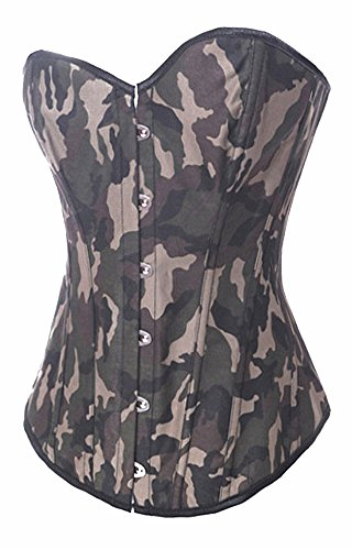 Amoluv Sexy Women Army Camouflage Fashion Corset, Halloween Costume
