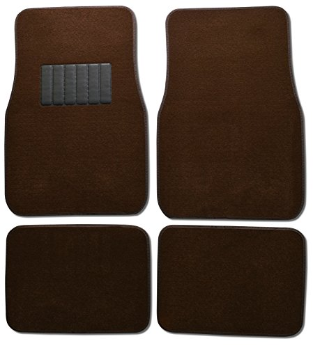 BDK Carpeted 4 Piece Mat With Vinyl Heel Pad Car Vehicle Universal Fit (Brown) (Car Mats Brown compare prices)
