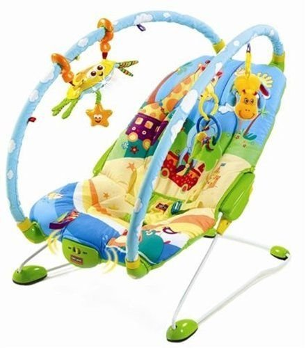 New! Tiny Love Gymini Multiple Position Bouncer With Hanging Toys (Blue/Yellow) front-176832