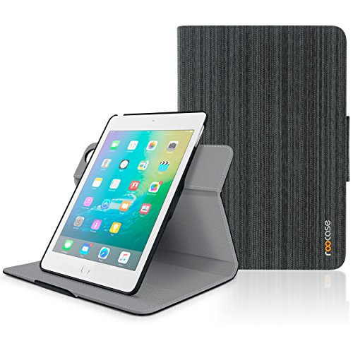 iPad Mini 4 Case, roocase Orb Folio 360 Rotating PU Leather Case Cover for Apple iPad Mini 4 (2015) [Supports Sleep/Wake Feature] Canvas Black