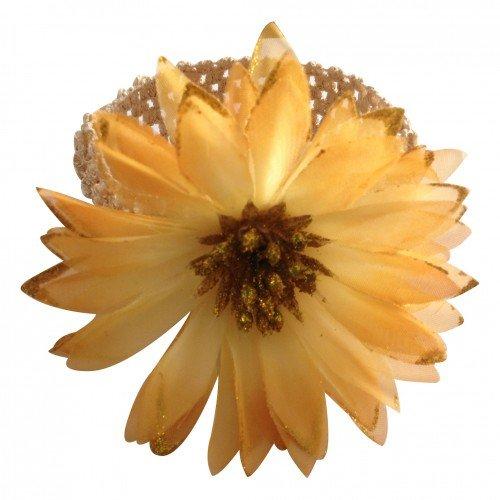 PinkXenia Dark Golden Glitter Flower Stamens crochet Newborn BabyGirl Soft Headband