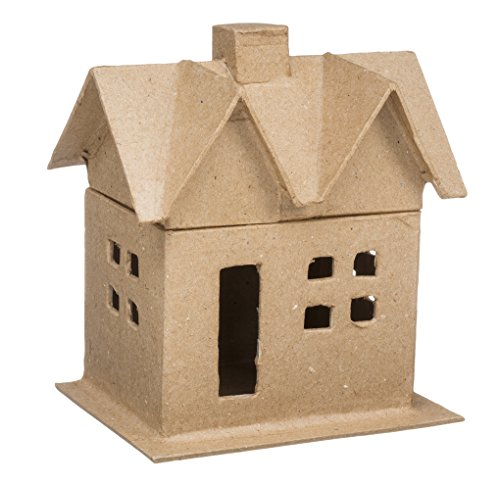 Darice 2863-04 Small Paper Mache House Box For Craftwork, Includes Lid, 6-Inch