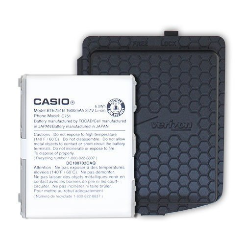 OEM Casio Ravine C751 Extended Back Cover Door + Battery BTE751B Verizon