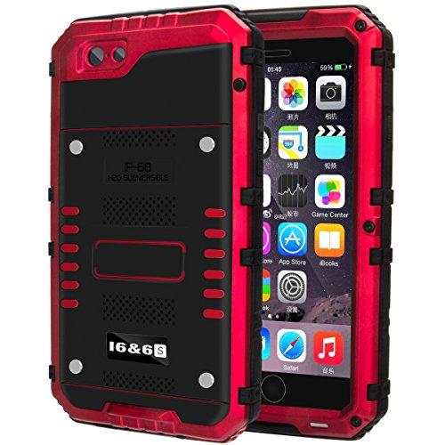 防水ケース Kirlor 携帯電話ケース iPhone 7/7 plus対応 IP68保護等級 防水防滴/防塵/防雪/耐衝撃 ストラップ付き 全密封アイフォンカバー 指紋認識可(iphone7適用/赤)