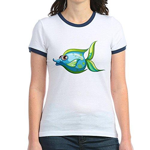 Truly Teague Jr. Ringer T-Shirt Blue Green Angel Fish - Navy/White, Medium