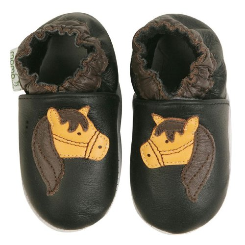 Momo Baby Soft Sole Baby Shoes - Horse Black