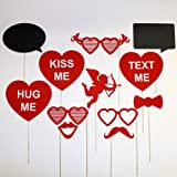 Valentines Day Photo Booth Props with Chalk Board Speech Bubbles , Cupid, Sweathearts , Mustache, Glasses - Instant Fun for Party , Wedding Events