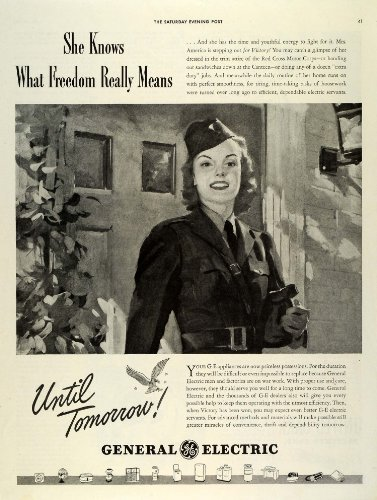 1942 Ad Red Cross Motor Corps Woman World War II General Electric Appliances GE - Original Print Ad