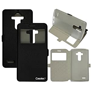 Casotec Premium Kickstand Caller-id Flip Case Cover with Snap Button Closure for LG G3 - Black