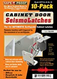 SeismoLatch Automatic Earthquake Activated Cabinet Latch, Silver, 10-Pack