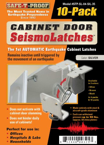 Seismolatch Automatic Earthquake Activated Cabinet Latch, Silver, 10-Pack front-632525