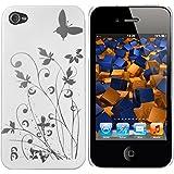 mumbi Schmetterling Blumen H�lle iPhone 4s 4 Schutzh�lle (Harte R�ckseite) Butterfly wei�