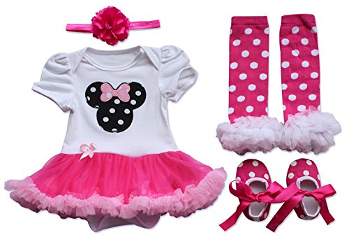 TIAOBU US Baby Girls Toddler Outfit Tutu Romper with Headband Leg Warmer Shoes