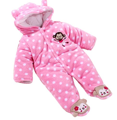 Baby Toddler Velour Winter Jumpsuit Front Button 61(Pink,9-12 Months)