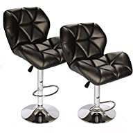 SET of (2) Black Bar Stools Leather M…