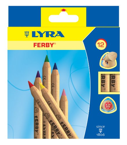 Lyra Ferby Unlacquered Triangular Giant Colored Pencils, 6.25 Millimeter Lead Cores, Set Of 12 Pencils, Assorted Colors (3611120)