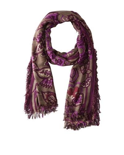 Theodora & Callum Women's Jakarta Gypsy Fringe Scarf, Purple Multi, One Size