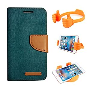 Aart Fancy Wallet Dairy Jeans Flip Case Cover for SamsungA5 (Green) + Flexible Portable Mount Cradle Thumb OK Designed Stand Holder By Aart Store.
