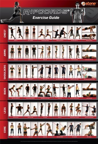 Ripcords Exercise Guide Poster   Resistance Band Workout Chart (Band Workout Chart compare prices)