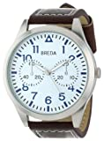 Breda Mens 8164-brown/whtface Zach Oversized Pilot Style Leather Watch