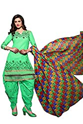 Shopping Point Green Cotton Anarkali Unstitched Dress Material
